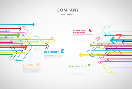 overview: Company infographic overview design template with arrows and icons - light version. Illustration