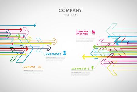 Unternehmen Infografik Übersicht Design-Vorlage mit Pfeilen und Symbolen - Light-Version. Vektorgrafik