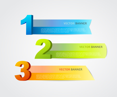 numero uno: 3 horizontal banners with numbers and place for own text.