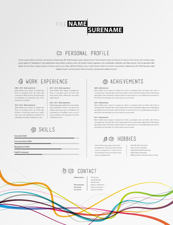 creative simple cv template with colorful lines at the footer royalty free cliparts vectors and stock illustration image 64539004