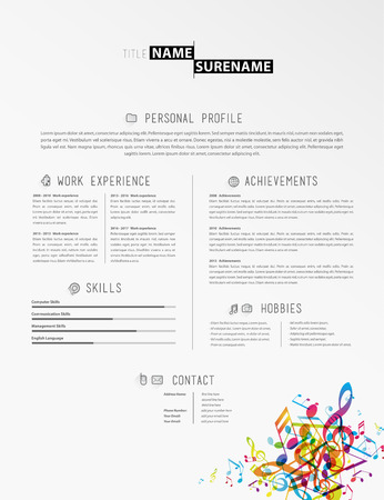 tunes: Creative simple cv template with colorful music tunes in footer.