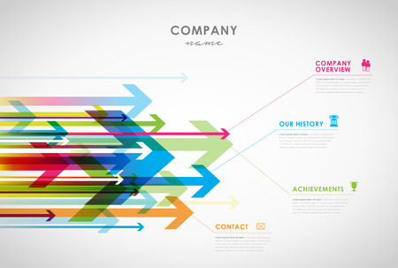 Company infographic overview design template with arrows and icons - light version. Çizim