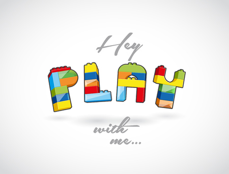 call out: Hey Play with me call out created of playing brick based elements.
