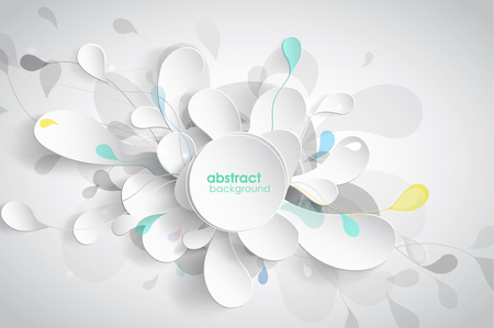abstract illustration: Abstract background with black and white paper flower petals. Illustration