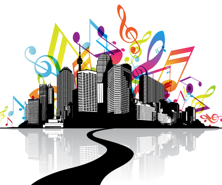 tunes: Abstract illustration with cityscape, road and sky created from colorful music tunes.