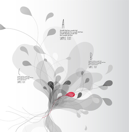 Fond abstrait gris avec des pétales de fleurs avec des lignes. Vecteurs