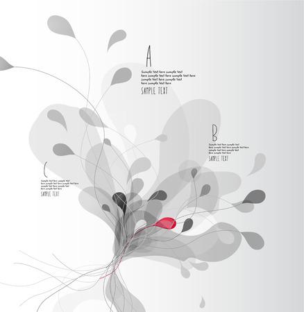 Szary abstrakcjonistyczny tło z kwiatów płatkami z liniami. Ilustracje wektorowe