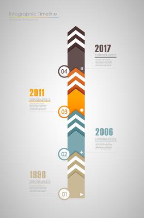 Colorful Infographic, modèle de rapport de calendrier typographique avec des années - version verticale.