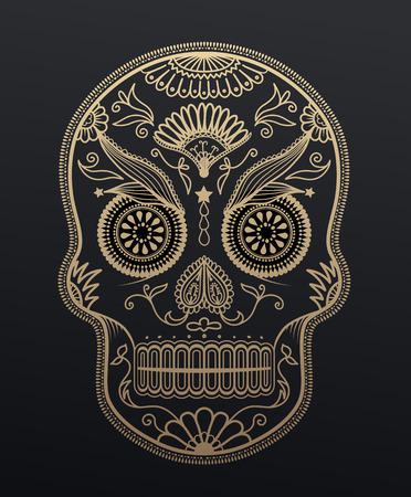 Sugar Skull day of the dead. Mexican style golden effect skull illustration. Illustration