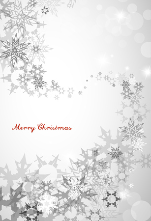 decent: Christmas silver background with snowflakes and decent blue Merry Christmas text - vertical version Illustration