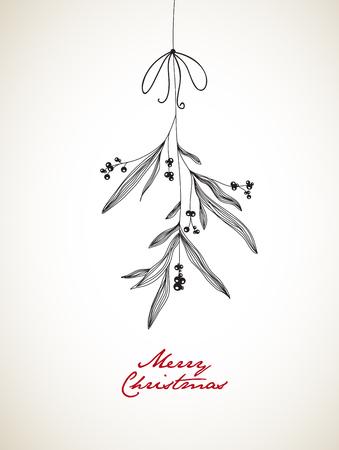 Handwritten illustration de Noël avec le gui accroché.
