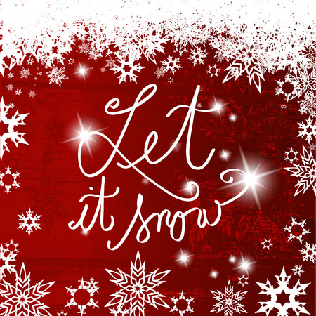 let it snow: Abstract background with snowflakes and Let it snow text in center.