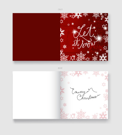 let it snow: Christmas illustration greeting card template with Let It Snow text.