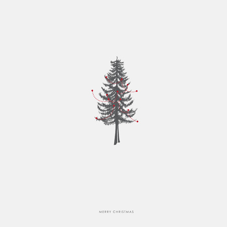 pine decoration: Christmas illustration greeting card template with pine Christmas tree with red decoration.