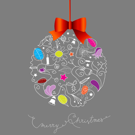 Christmas decoration created from many Christmas elements and red bow know at the top.
