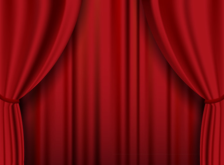 heavy: Red theater heavy curtain. Vector background.