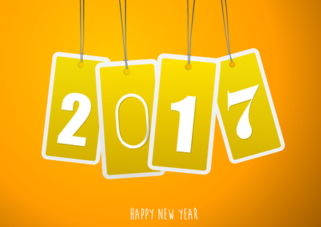 Four yellow hanging labels with 2017 year. Illustration