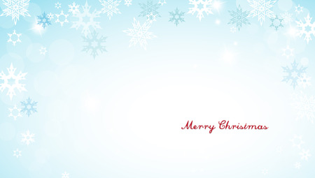 decent: Christmas silver background with snowflakes and decent red Merry Christmas text - horizontal version