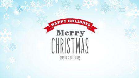 decent: Christmas silver background with snowflakes and decent red and white Merry Christmas text - horizontal version