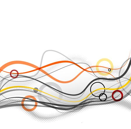 Abstract simple lines and circles in footer. Vector art
