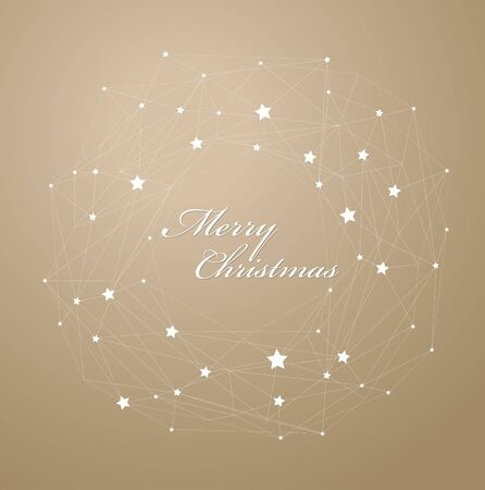 light brown background: Merry Christmas with lots of stars on light brown background and lines.