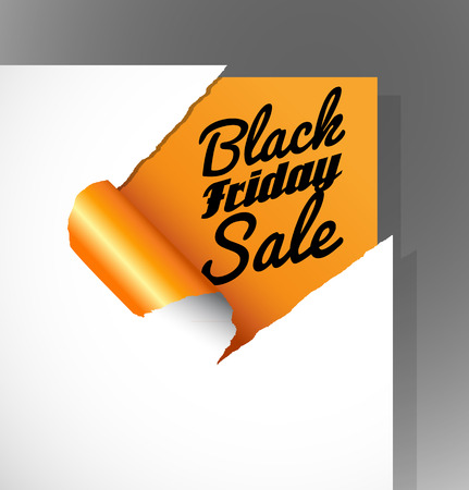 teared paper: Black Friday Sale text uncovered from teared paper corner.