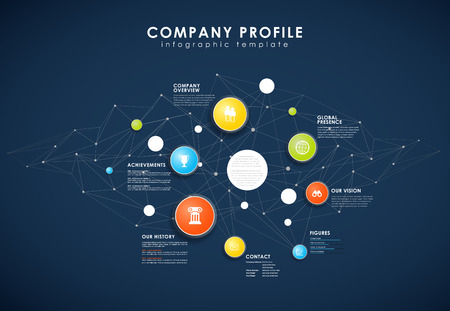 Company profile overview template with colorful circles. Illustration