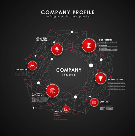 overview: Company profile overview template with red circles and dots - dark version.