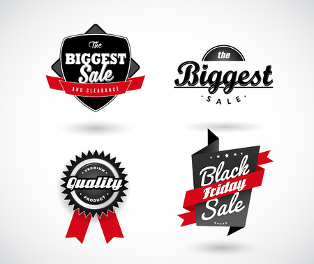 sale sticker: Set of Sale, Black Friday, The Biggest Sale, Premium Quality labels with red ribbons.