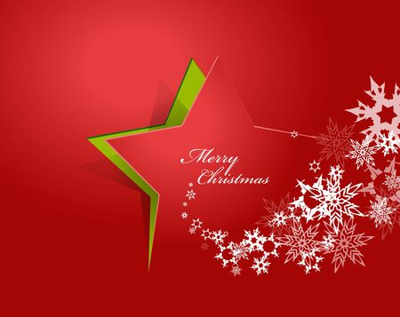 christmas star background: Abstract background with Christmas star and Merry Christmas text with many snowflakes - red version Illustration