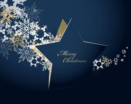 Sfondo astratto con stella di Natale e testo di buon Natale con molti fiocchi di neve - versione oro
