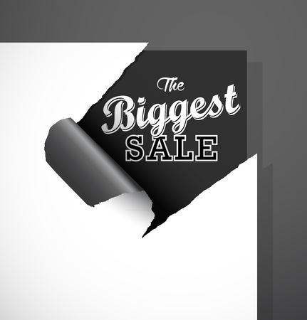 biggest: The Biggest Sale text uncovered from teared paper corner.