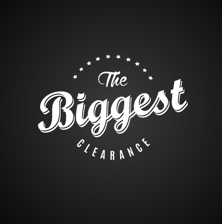 biggest: The Biggest Clearance label template on dark background with stars. Illustration