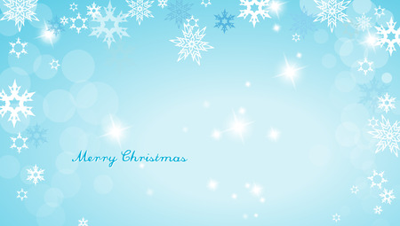 wide angle: Turquoise Christmas background with snowflakes and simple Merry Christmas text - wide angle version Illustration
