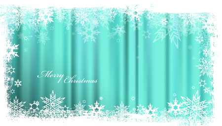 lens brush: Turquoise Christmas background with snowflakes and simple Merry Christmas text - wide angle version Illustration