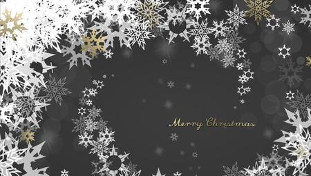 Kerstmis donkere achtergrond met gouden - witte sneeuwvlokken en Vrolijke Kerstmistekst - donkere versie