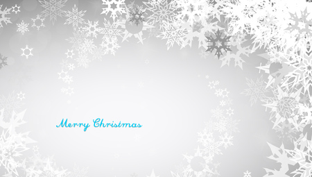 decent: Christmas silver background with snowflakes and decent blue Merry Christmas text - horizontal version