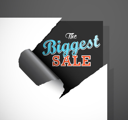 teared paper: The Biggest Sale text uncovered from teared paper corner.
