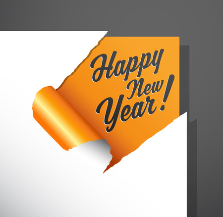 winter wish: Paper corner cut out with Happy New Year wishes uncovered under it. Illustration