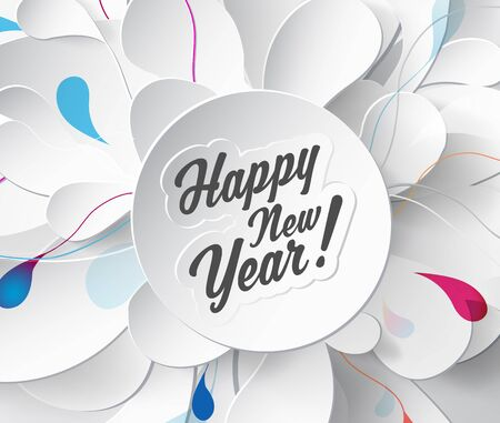 flower petals: Happy New Year greeting card on light abstract background with flower petals.