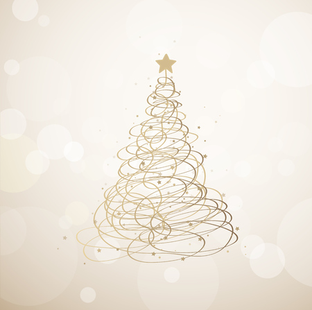 golden ribbons: Christmas tree background created from golden ribbons and many stars.