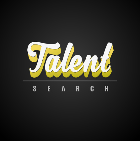 talent: Talent search calligraphic 3D text with shadow effect.