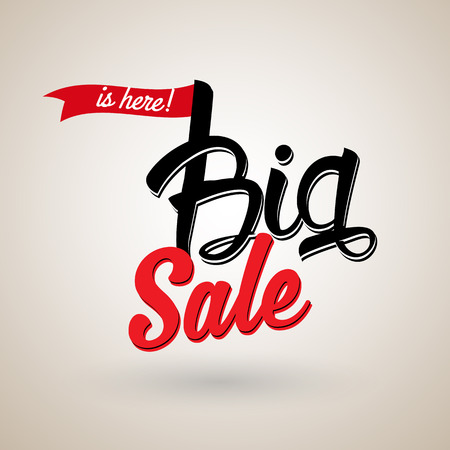 The Big Sale is here calligraphic text with red ribbon.