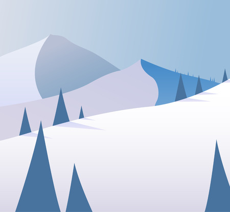 top animated: Winter mountain scenery with pine trees and snowy hills.