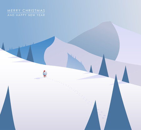 Winter mountain landscape scenery, walking Santa Claus with his bag full of presents in deep snow with pine trees surrounding him and blue sky. Illustration