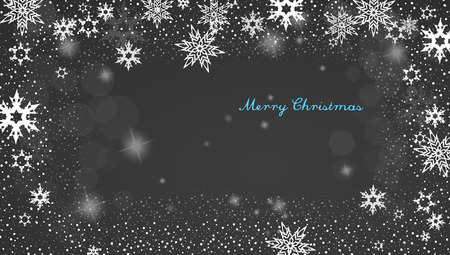 decent: Christmas silver background with snowflakes and decent blue Merry Christmas text - dark version