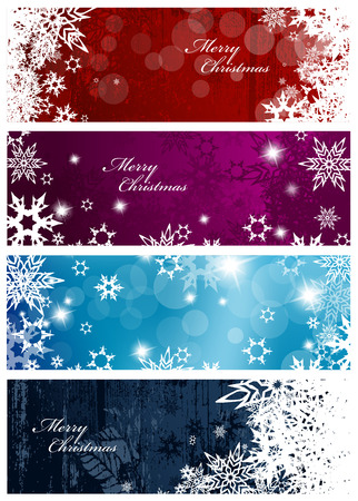christmas banner: Set of four colorful Christmas background banners with snowflakes and simple Merry Christmas text - horizontal version