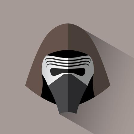 Il suffit de la tête de bande dessinée de l'homme dans le masque et le capot avec l'ombre. Banque d'images - 69255914