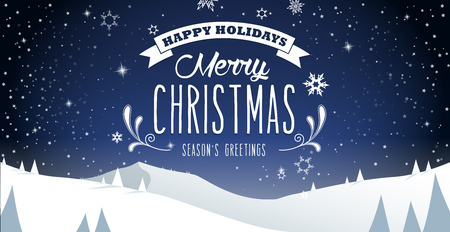 winter scenery: Winter mountain landscape scenery, Merry Christmas text with pine trees and stars.