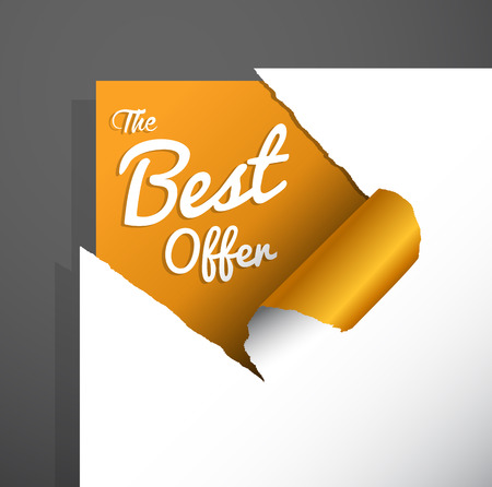 teared paper: The Best Offer text uncovered from teared paper corner.